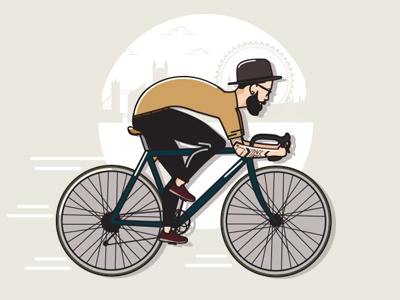 Hipster Dribbble ride bicycle city illustration hair beard tattoo fashion style hipster