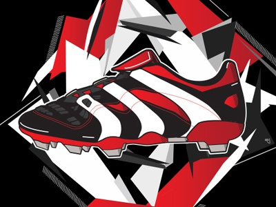 Adidas Predator 98' colour vector lines predator adidas boot shapes illustration poster print soccer football