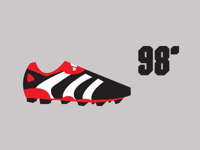 Predator 98' colour boot footwear sport illustration vector shapes minimal adidas