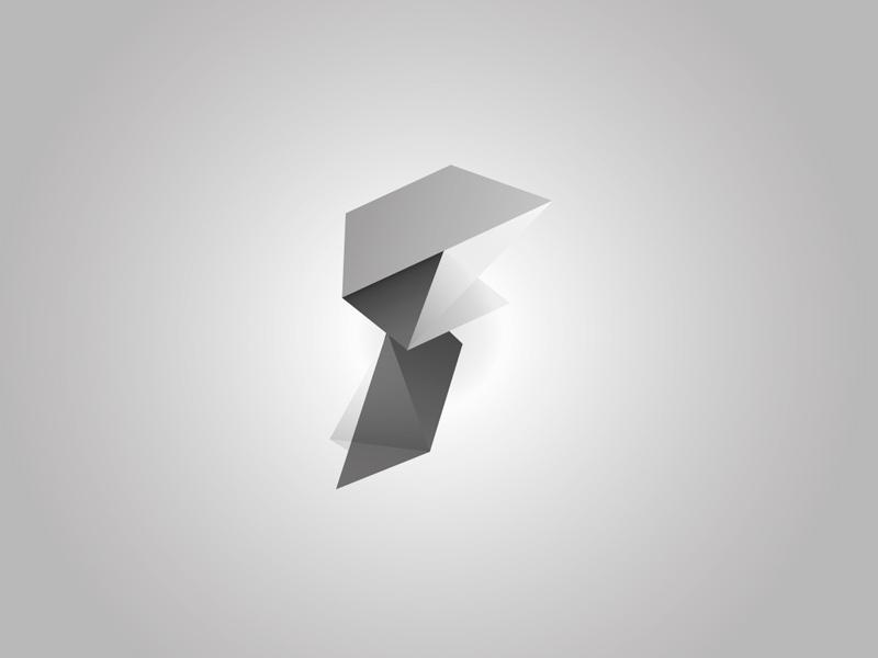 Logo Process - F logo gradients f bw byn degradados polygon geometric poligono geometrico gris greyscale grayscale