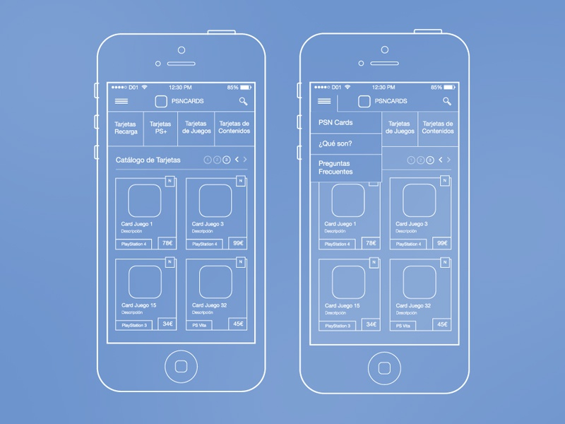 PSN Cards UX ux ui wireframes ia id interaction interaction design workflow information architecture user experience wireframe app