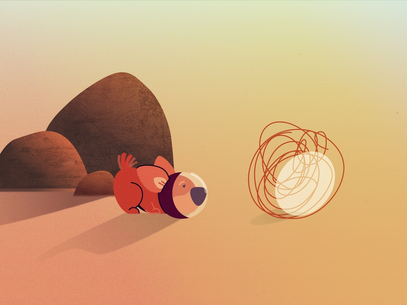 Dog character flat style cosmonaut corgi astronaut illustration vector tumbleweed stones desert puppy dog