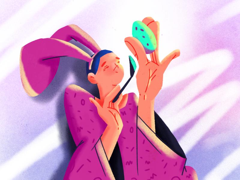 Easter bunny texture design easter egg artist easter bunny furry animal rabbit hands painting brush girl character illustration egg easter