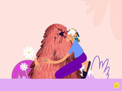 Dog cute teenager woman dog puppy walk flowers joy texture character design cartoon friendship love pet hugs girl character flat style vector illustration