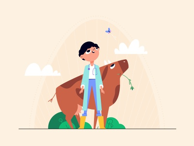 Vet teenager village grass career summer concept chracter design animal farm farmer vet childhood child cute cowgirl cow girl flat style vector illustration