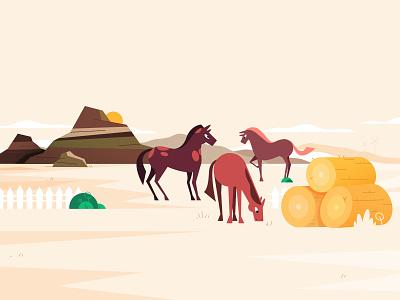 Lanscape children illustration childish flat style windmill character design animals hay stack bushes desert sun mountains horses horse farm village lanscape scenery vector illustration