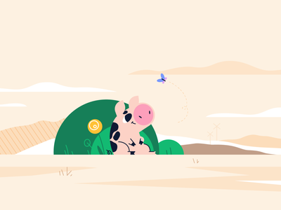Piggy landscape windmill butterfly bushes village farm scenery character concept character design animal flat style vector illustration piggy pig