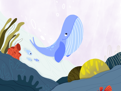 Whale concept watercolor underwater world seaweed coral fish sea childrens illustration cute hand drawn character flat style vector illustration whale