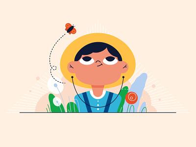 Little girl baby little girl face portrait styleframe dandelion design girl teenager hat farmer farm butterfly concept branding flat style vector illustrator