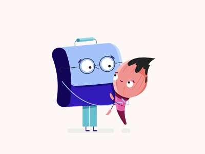Briefcase and Paintbrush children texture character design casse business brush paintbrush briefcase childish cute cuties branding animation character flat style vector illustration