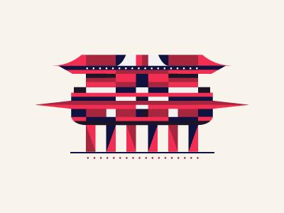 Tokio temple sight famous palace cartoon fancy geometric geometry temple tokio
