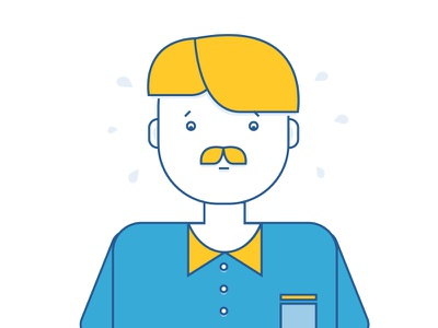 Character illustration vector t-short sweat flat style mustache worry scared person man character