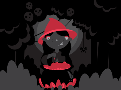 Witch cute horror character flat style vector illustration mystery magic halloween witch