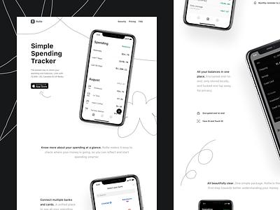 Rollie fintech crypto landingpage landing simple monochrome playful illustrated doodle webdesign website marketing