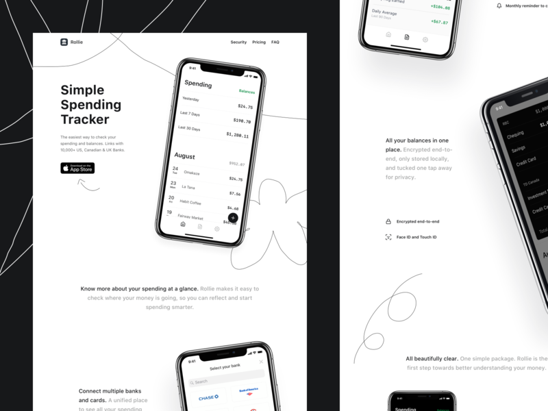 Rollie fintech crypto landingpage landing simple monochrome playful illustrated doodle webdesign website marketing