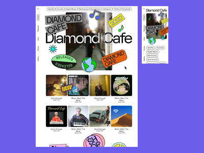 Diamond Cafe 80s minisite band sidenav quirky stickers website