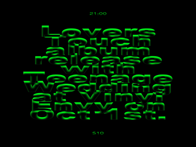 Lovers Touch Album Release Show stretched green type poster