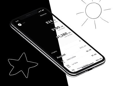 Rollie – Auto Dark Mode personal finance rollie tracker spending product fintech dark  mode