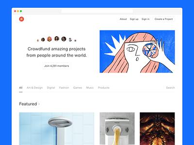 Crowdfunding Hifi Concept web design simple illustration ui product web crowdfunding white