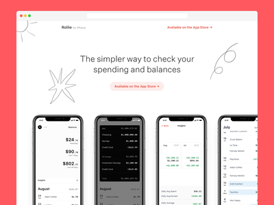 Rollie.co simple illustration website personal finance fintech rollie iphone app doodle white web marketing site