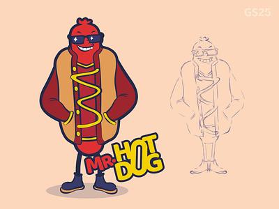 Hi Mr.Hotdog vector character illustration