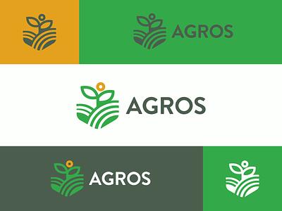 AGROS organic leaves agrofabrice green symbol leaf logo leaf identity brand identity branding brand harvest seeding growth cultivation planting plant farming farm agronomy