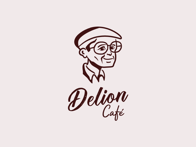 Delion Café - Logo Aproved elder sweet shop coffee house character cafeteria grandfather coffee shop coffee