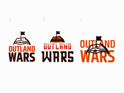 Outland Wars - logo study rpg game rpg conqueror conquer boardgame game mars space planet war logo