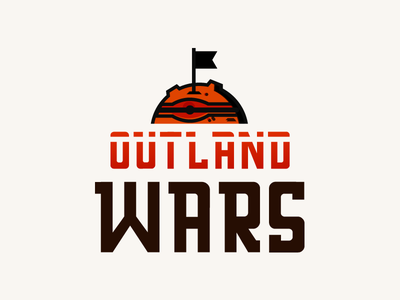 Outland Wars - logo 3 conqueror conquer flag scifi space war war space mars planet rpg game rpg board game boardgame logo