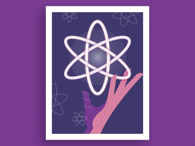 Science Highlights Illustration purple funding vector flat report annual illustration poster burst hand atom science