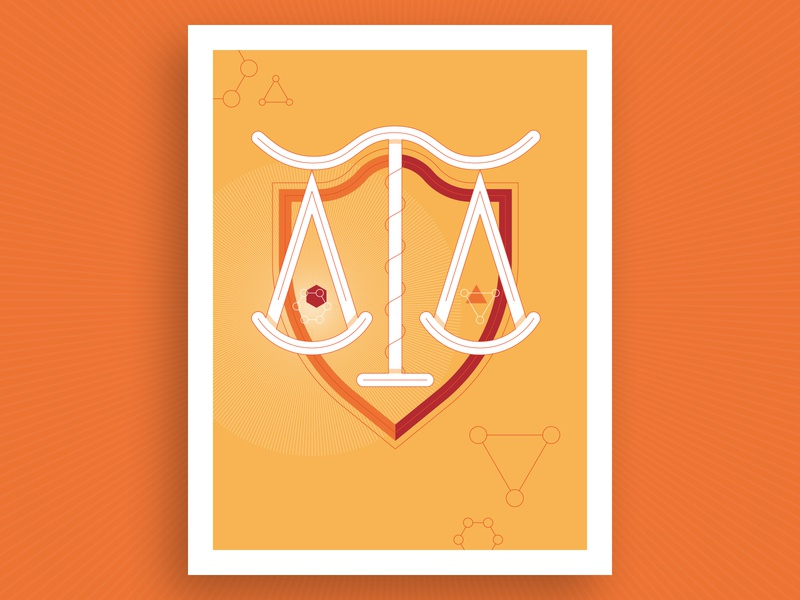 Regulatory Science Illustration orange flat illustration vector poster report annual polygons weight rules law science regulatory