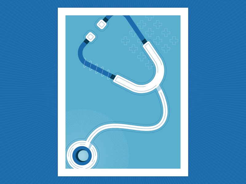 Biomedical Science Illustration blue stethoscope funding research science flat vector poster cross plus medical biomedical