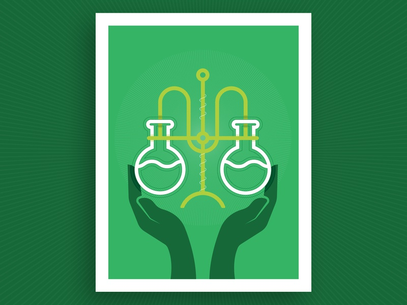 Biomedical Research Illustration report annual funding science illustration flat poster green holding hold hands tubes test research lab biomedical