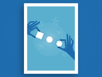 Interfaces in Science Illustration flat report annual poster blue polygon square circle atom research hands combination combine morph shapes interfaces science