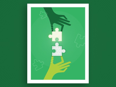 Diversity in Science Illustration green flat illustration poster report annual research together hands pieces puzzle science diversity