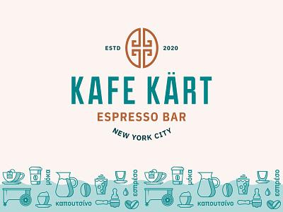 Kafe Kart Logo drinks food logo curve wave teal espresso press ice bean coffee latte mocha key greece greek cart kart cafe kafe