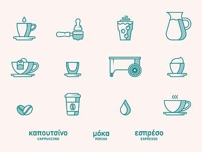 Kafe Kart Icons truck food drip drop cup tea wave bean coffee espresso mocha iconography icons mobile cart cafe kart kafe
