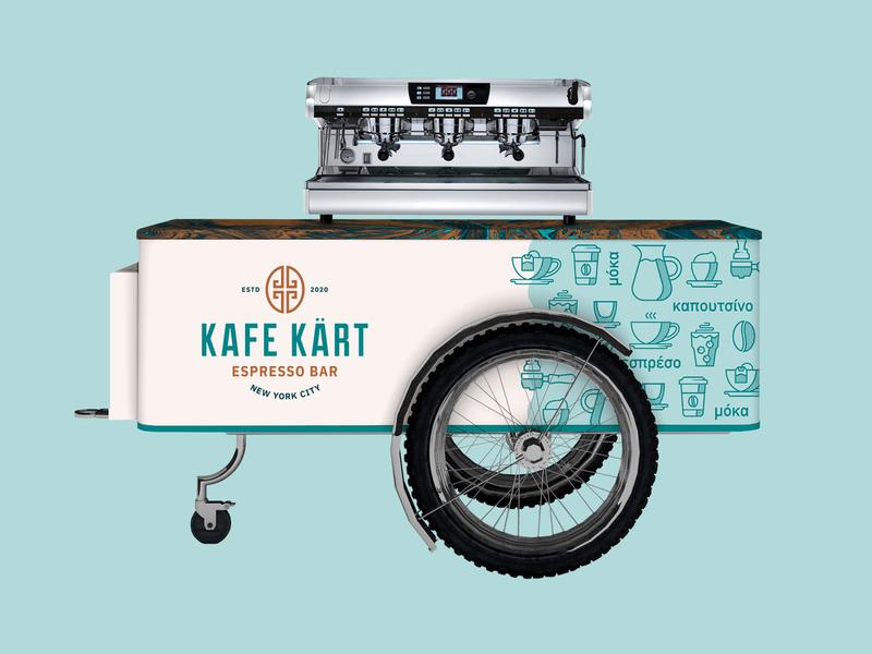 Kafe Kart Wrap mobile truck food wheels wave latte mocha espresso icons bean coffee cart kart kafe