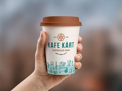 Kafe Kart Cup bar to go take out lid cup mobile espresso latte mocha tea iconography icons wave cart coffee kart kafe
