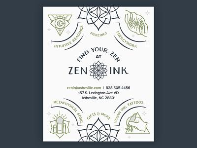 Zen Ink Field Guide Ad mountains asheville gifts crystal metaphysical vegan triangle moon reiki energywork piercings tattoo mandala print ad guide field ink zen