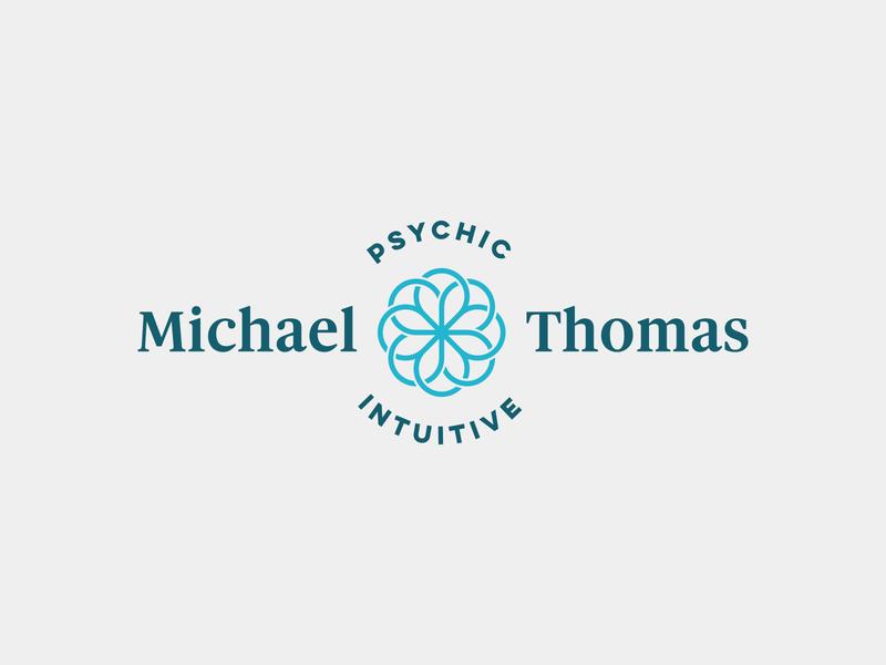 Michael Thomas Logo loop circle teal curve geometry sacred healer intuitive psychic