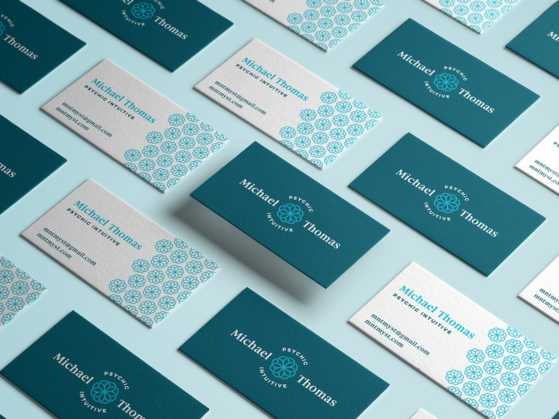 Michael Thomas Business Cards new age business card circular pattern teal geometry sacred mandala intuitive psychic