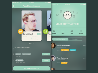 Contractors avatar cards profile ios app