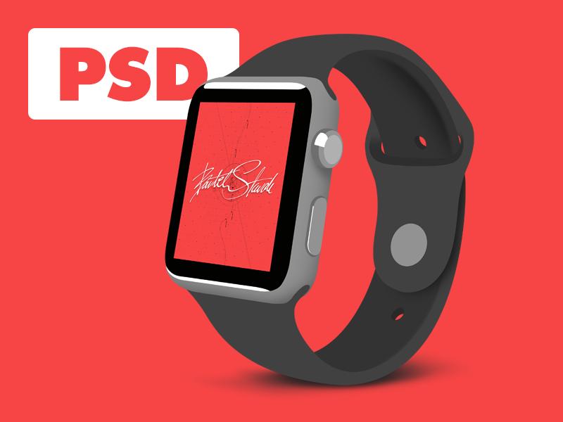 Flat Apple Watch Sport - FREE PSD sport 42mm photoshop flat template psd watch apple watch