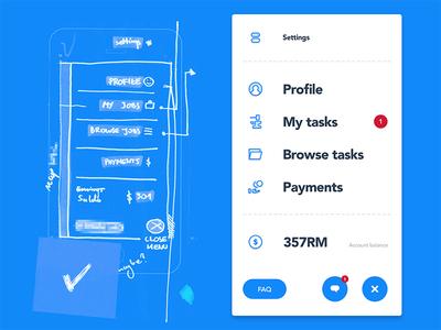 🐵 - Menu - UX → UI ux ui menu progress process ios fin-tech exploration design clean behind the scenes app