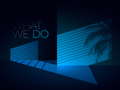 What we do 80s neon blinds shadow retro illustration ui