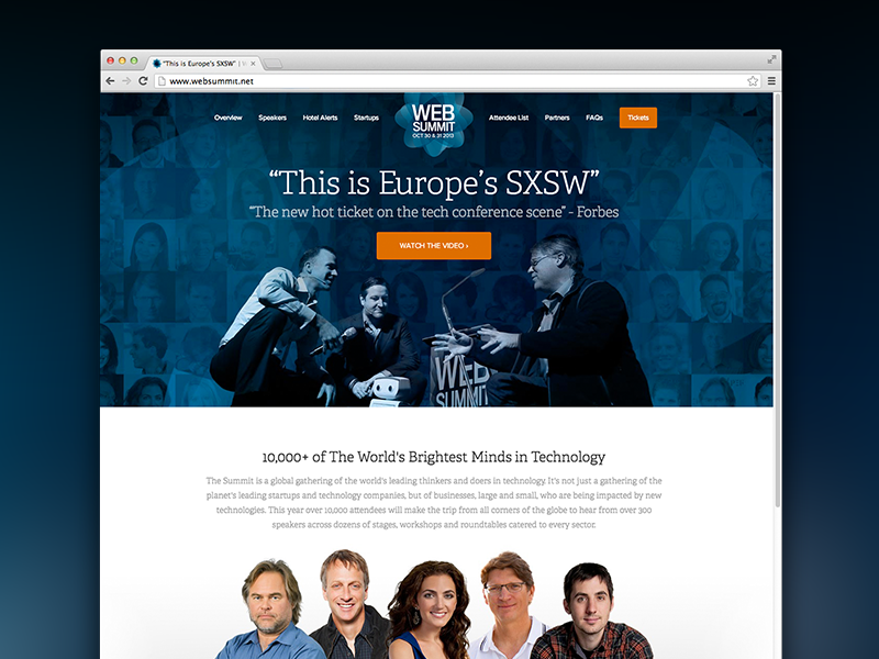Web Summit homepage conference web design