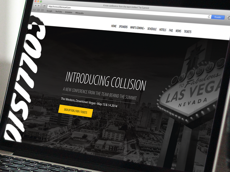 Collision website conference responsive homepage tech