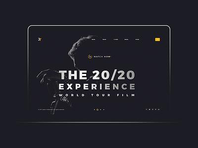 Justin Timberlake ux web ui typography site navigation music grid flat design clean
