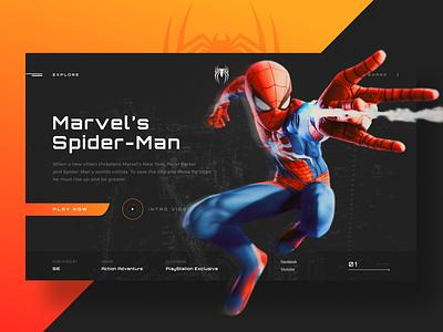 Spider-man promo menu navigation design site clean ux web ui typography grid comics marvel spider-man